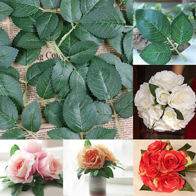 100 Springs 300 Rose Leaves Artificial Silk Green Leaf Wedding Craft Buttonhole