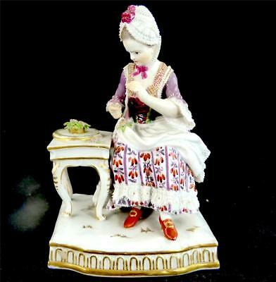 Antique Meissen Figurine - Seated Girl - The Sences - Emblematic Of Touch E4