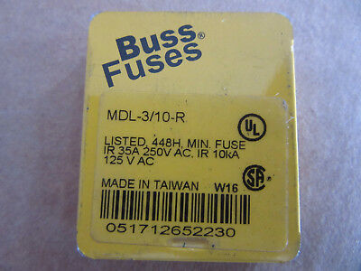 (5) Buss MDL-3/10-R Glass Fuses 3/10A 125/250V NEW!!! with Free Shipping