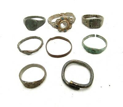 Lot Of 9 Roman / Medieval Bronze Rings For Cleaning - Wearable Stunning - C995