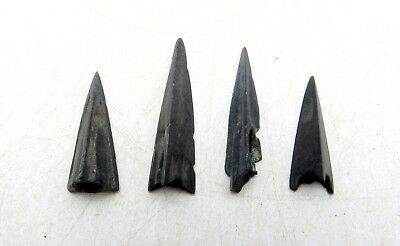 Lot Of 4 Ancient Scythian Bronze Arrow Heads - Ancient Historical Artifacts D4