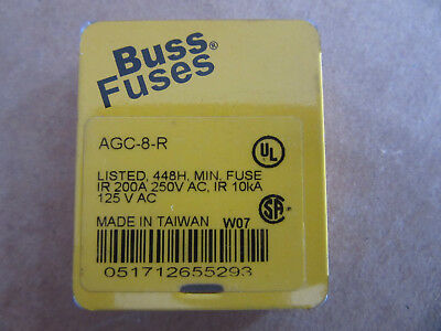 (5) Buss AGC-8-R Glass Fuses 8A 125/250V NEW!!! with Free Shipping