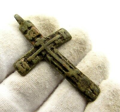 Late / Post Medieval Bronze Cross Pendant - Rare Wearable Artifact Great D15