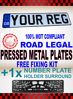 High Quality Pressed Metal Gb Number Plates & Holders - Front 100% Uk Road Legal