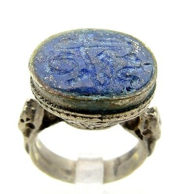 Post Medieval Silver Ring W/ Carved Intaglio Lapis Lazuli Beast - Wearable D22