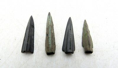 Lot Of 4 Ancient Scythian Bronze Arrow Heads - Ancient Historical Artifacts D5