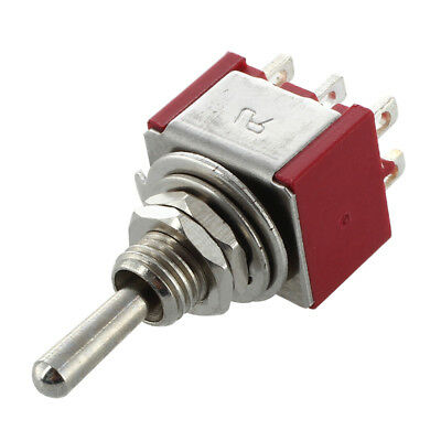 5X(Mini Toggle Switch DPDT ON-ON Two Position Red 2A 250V 5A 120V G8H5)