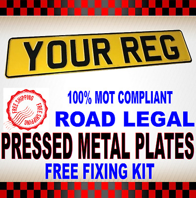 High Quality Pressed Metal Number Plates - Rear 100% Uk Road Legal