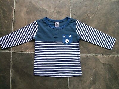 BNWT Baby Boy's Blue & White Bear Long Sleeve Cotton Top Size 000, 00 & 0