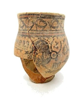 Indus Valley Terracotta Jar W/ Deer Motif - Rare Ancient Artifact Lovely - L124