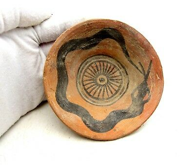Ancient Indus Valley Terracotta Bowl W/ Snake - Rare Artifact Lovely - L127