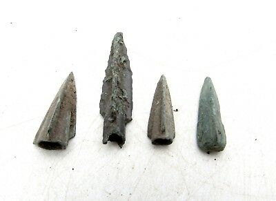 Lot Of 4 Ancient Scythian Bronze Arrow Heads - Ancient Historical Artifacts D27