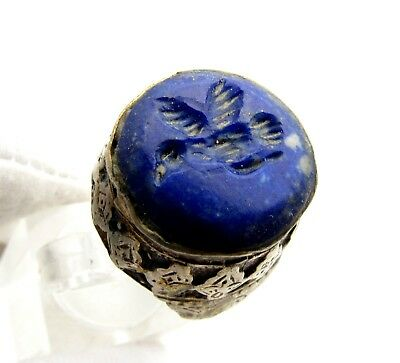 Post Medieval Silver Ring W/ Carved Intaglio Lapis Lazuli Beast - Wearable D41