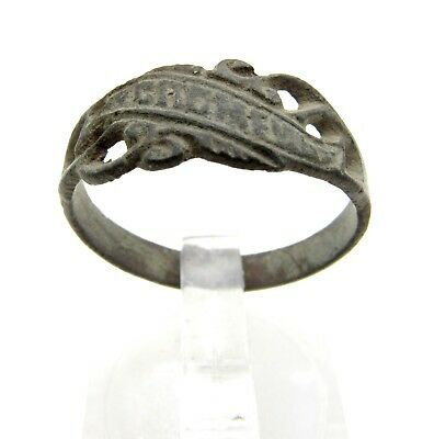 Late Medieval Bronze Ring Remember Ring - Rare Historic Artifact Wearable D46