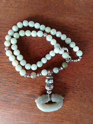 Beautiful old jade dragon necklace (New Condition)