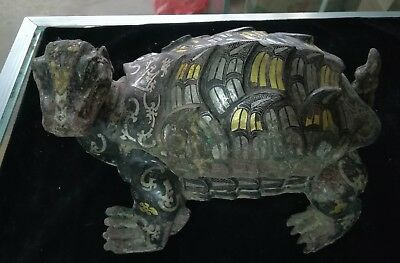 Chinese Bronze Dragon turtle statues inkstones inlaid Gold&silver inscription