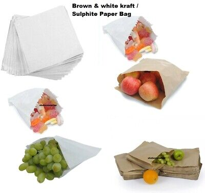 Brown Kraft / White Sulphite Strung Paper Food Bags for Sandwiches Groceries etc