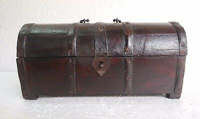Vintage Old Hand Carved Iron Fitted Unique Shape Wooden Box with Handle
