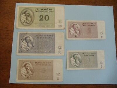 Germany Concentration Camp Theresienstadt CZECH Ghetto 1943 5x Circulated Notes