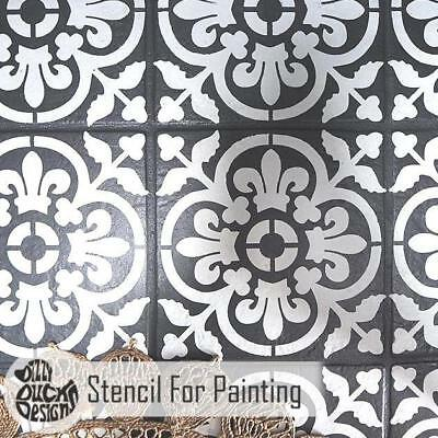 VALENCIA Tile Furniture Wall Floor Stencil for Painting