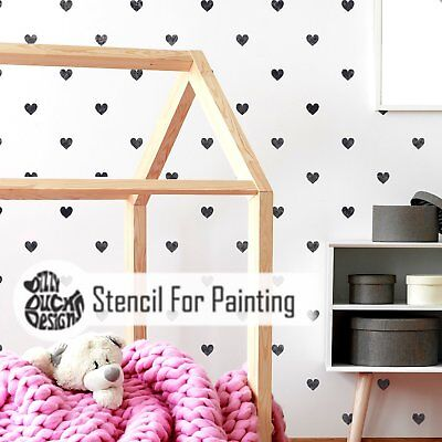Polka Dot Heart Wall Floor Furniture Stencil for Painting