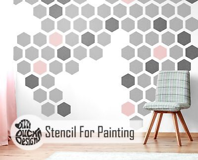 HEXAGON Furniture Wall Floor Stencil for Painting