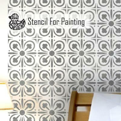 YORK Tile - Furniture Wall Floor Stencil for Painting