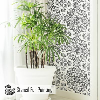 Bukhara Tile Wall Furniture Floor Stencil for Painting