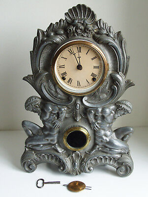 Antique N MULLER & SONS NY STRIKING MANTEL CLOCK CAST METAL FRONT
