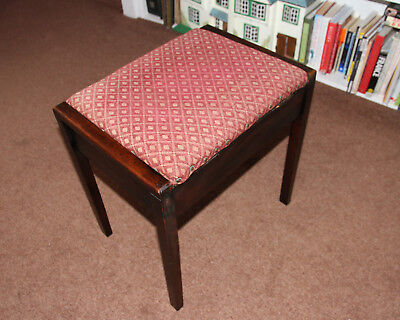 Piano Stool Vintage Dressing table stool storage in seat SOLID AND ORIGINAL