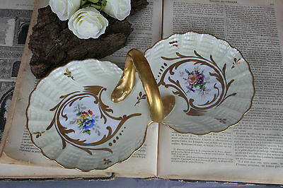 French Limoges Porcelain Floral chocolate tray presentation circa 1950 signed