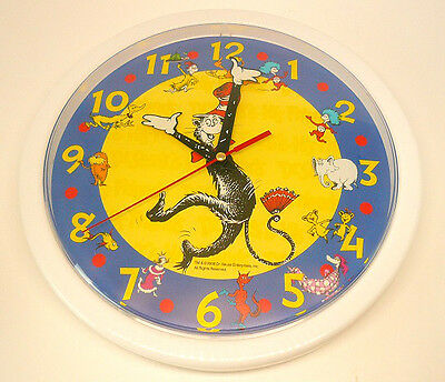 "DR SEUSS CAT IN THE HAT Scholastic 3D Style  Classic Characters 10"" WALL CLOCK"