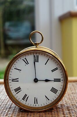 Antique Brass Cased French Drum Clock Working Well