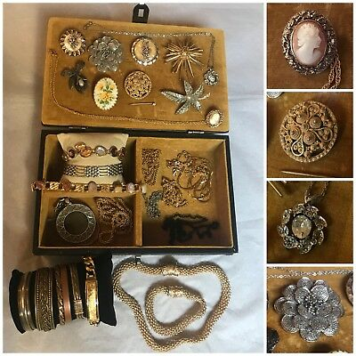Job Lot Antique Vintage Jewellery Brooches Silver, Cameo x29 with Box Chest