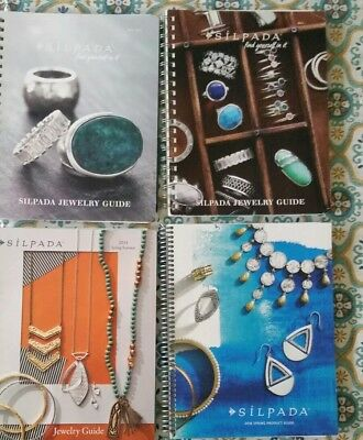 Lot 4 Silpada Reference Jewelry Product Guides Catalog 2014-2016, spiral, tabs.