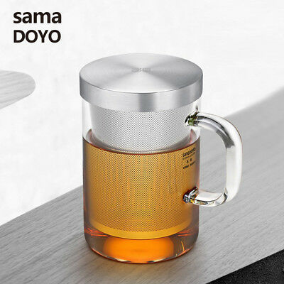 SAMA DOYO High Grade Glass Office Teacup w/t 304# Stainless Steel Infuser & Lid