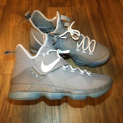 quality design 40473 23907 Nike Lebron 14 XIV Mag Marty McFly Silver Basketball Shoes Size 9 852405 005