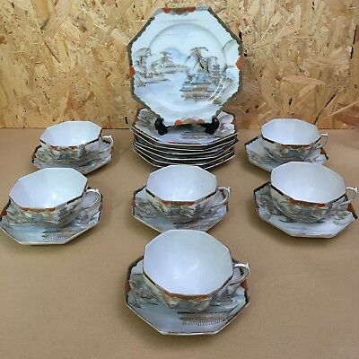 Vintage Hand Painted Eggshell Tea set - 6 person - 18 piece - Japanese / Chinese
