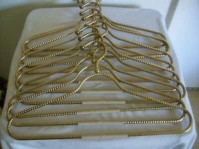 Vintage Gold Plated Brass Clothes Hangers Set of 11 Heavy Duty Coat Hangers