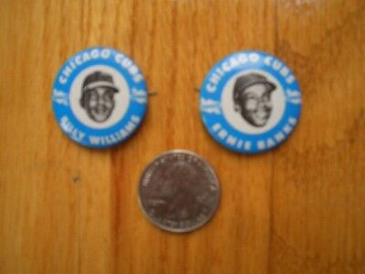 Lot of 2 VINTAGE 1960'S Pinback Buttons ERNIE BANKS BILLY WILLIAMS Sunoco