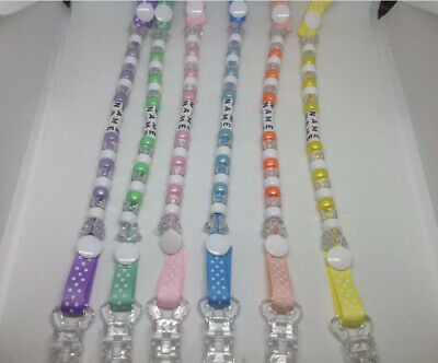 ❤️ Dummy Clip CIips Strap ❤️ Baby Gift MetaI CIip...Any Name..Buy 2 Get 1 Free