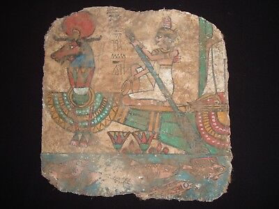Rare Antique Ancient Egyptian The boat Of The God Khnum on linen 1570-1069 BC