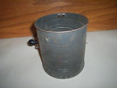 Antique Bromwell's Five Cup Made in USA Measuring Metal Flour Sifter