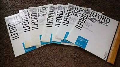 Lot of 7 Packs 8 x 10 Ilford Photographic Paper ILFOBROM Single, Double Weight