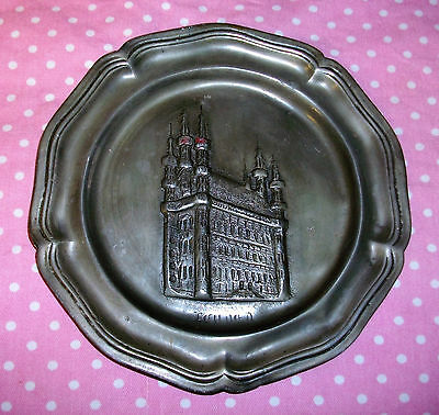 Rare Antique MD Pewter 7inch Plater with Leuver Design Galleries Van Oost Museum