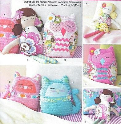 Stuffed Soft Girl Owl & Kitty Cat Doll Pillow Sewing Pattern UNCUT 17 and 9 Inch