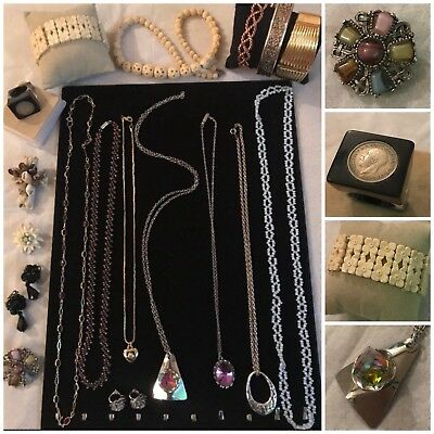 Job Lot Antique Vintage Jewellery Coin Ring, Celluloid, Necklaces with Box