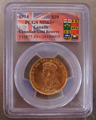 1914 PCGS Certified MS63+ Canada $10 Gold Coin Canadian Gold Reserve