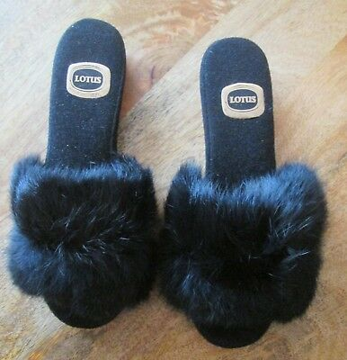 Vintage Sexy Fur Fluffy Mule Slippers Size 5 ( More A Size 4 ) Lotus Used 1970's