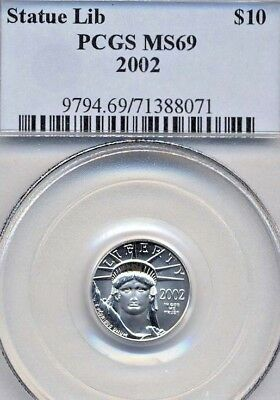 2002 $10 Platinum Eagle Statue Of Liberty *  Pcgs Ms69 * True Auction!